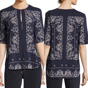 Theory Antazie Navy Blue Bandana Paisley Silk Top